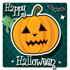 Happy Halloween card with pumpkin, monster and a bat, vector