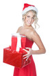 Beautiful blonde christmas woman with gifts