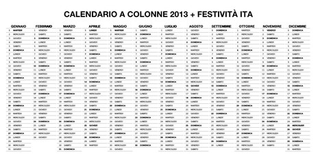 Calendario colonne 2013 + Festività ITA