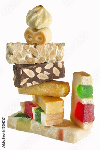 Pile of different flavored nougat