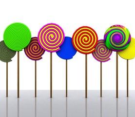 Colorful lollipops - 3D