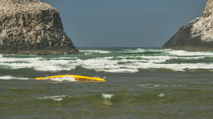 Over Turned Kayak in Ocean