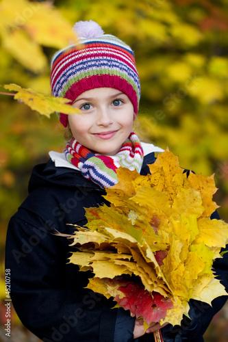 Autumn portrait - lovely girl in autumn park