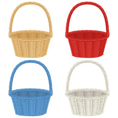 Colorful baskets  isolated on white background