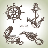 Sea set of nautical design elements. Hand drawn illustrations