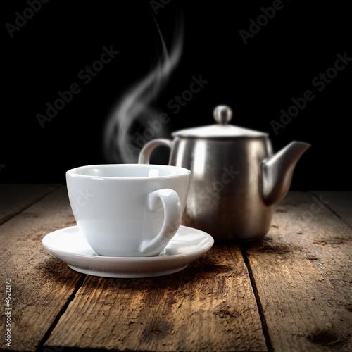 fresh hot drink in dark interior