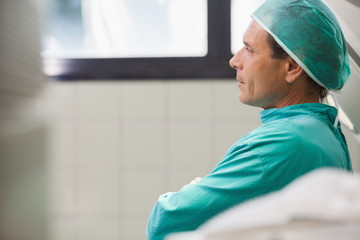 Surgeon sitting in a hall