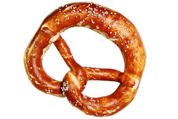 bavarian pretzel isolated on white