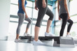 Three women in aerobics class