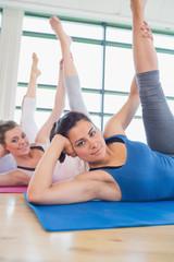Women stretching legs