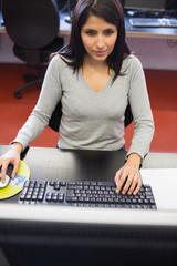 Woman in computer class