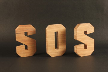 SOS text animation with wood letter version 2