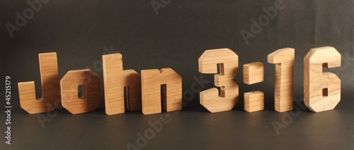 John 3:16 bible gospel text with wooden letter version 3