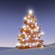 Geschmückter, verschneiter Weihnachtsbaum 3D