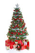 Decorated Christmas tree isolated.