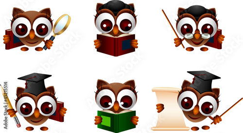 various cartoon illustration of a cute owl