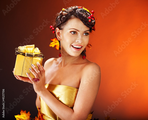 Girl with  autumn hairstyle and make up.