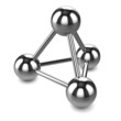 3d Triangle union of chrome spheres