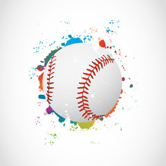 Abstract Colorful Grunge Baseball Ball