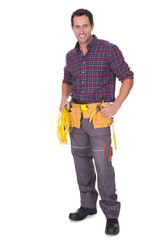 Electrician Man Holding Cable And Toolbox