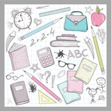 School supplies elements on lined sketchbook paper background