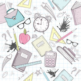 Fototapety Cute school abstract pattern. Seamless pattern with alarm clock,