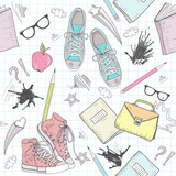 Cute school abstract pattern. Seamless pattern with shoes, bags, - 45219587