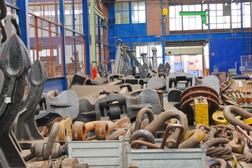 Anchors stored in stock shipyard