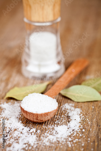 salt and bay leaves