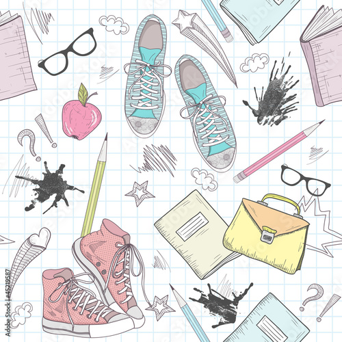 Cute school abstract pattern. Seamless pattern with shoes, bags,