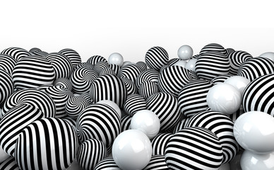 naturaleza muerta con pelotas en blanco y negro