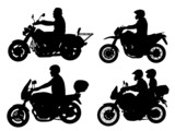 motorcyclists silhouettes set - vector