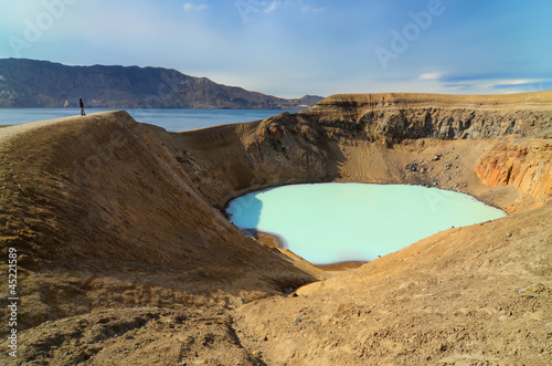View of Viti crater and person s silhouette, Askja, Iceland
