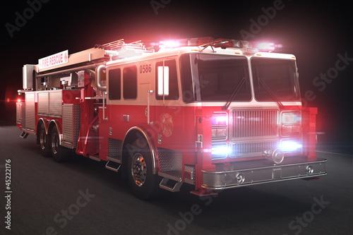 Wóz strażacki ze światłami