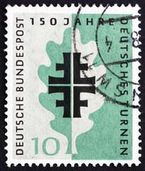 Postage stamp Germany 1958 Turner Emblem and Oak Leaf