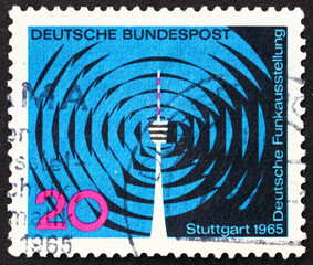 Postage stamp Germany 1965 Waves and Stuttgart Television Tower