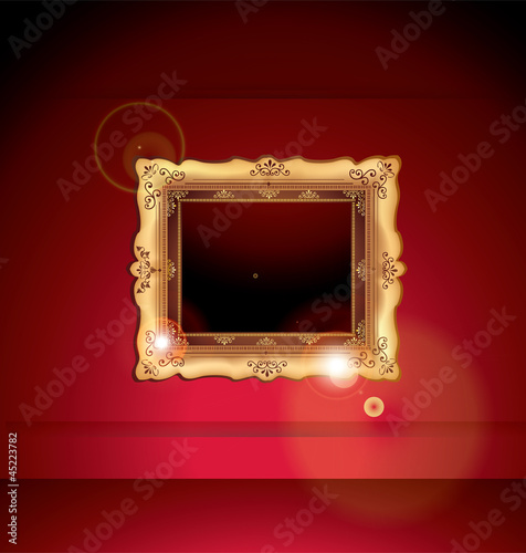 Golden Frame Against Gallery Wall