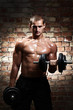 Muscular guy with dumbbells over brick wall