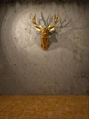 Goldener Hirsch an Sichtbeton Wand 3D