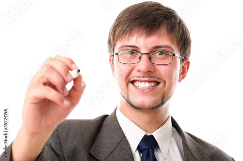 Happy businessman with black marker