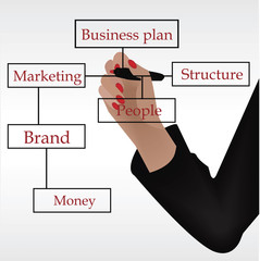 businesswoman drawing a business flow chart