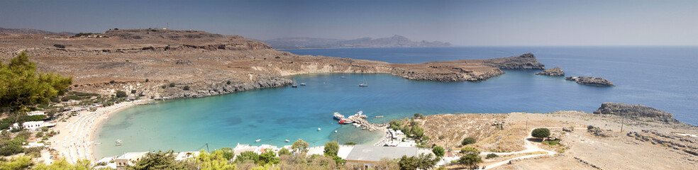 Picturesque view of Lindos St. Paul bay and beach