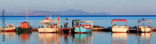 Boats in small harbor near Vlacherna monastery, Kanoni, Corfu, G