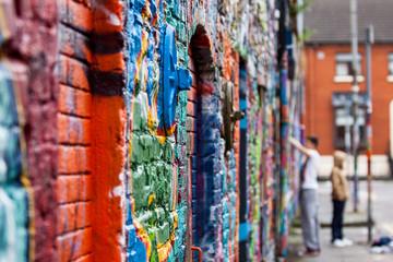 Graffiti wall with painters