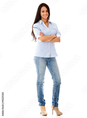 Happy casual woman