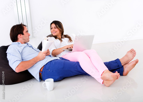 Couple at home talking