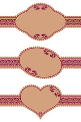 Vector set of framed ornate labels