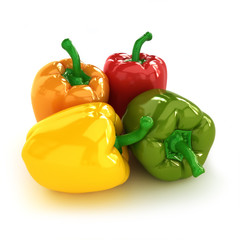 Peppers, arrangement of four different colorful Bell peppers