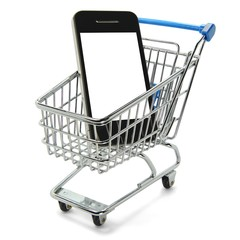 Smartphone weißer Bildschirm im Einkaufswagen