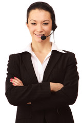 Portrait of a friendly customer service girl with a headset